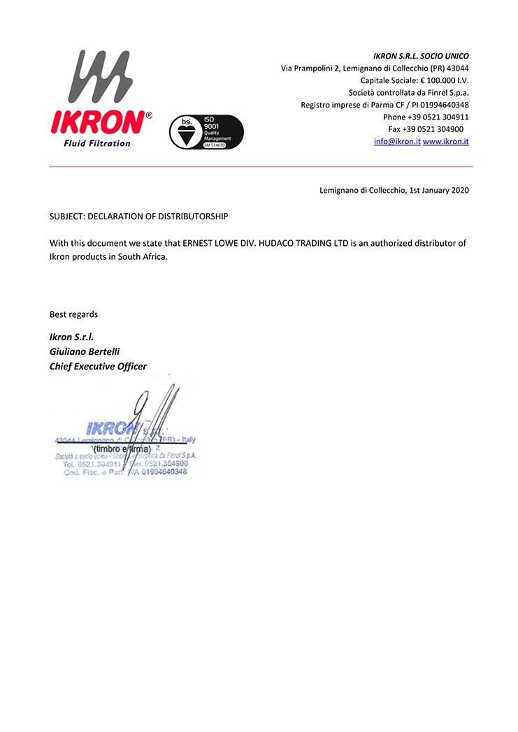 Ernest Lowe - IKRON Distributorship Declaration - 2020-01-01