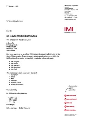 Ernest Lowe - IMI Precision Engineering Distributor Confirmation - 2020-01-07 - thumbnail