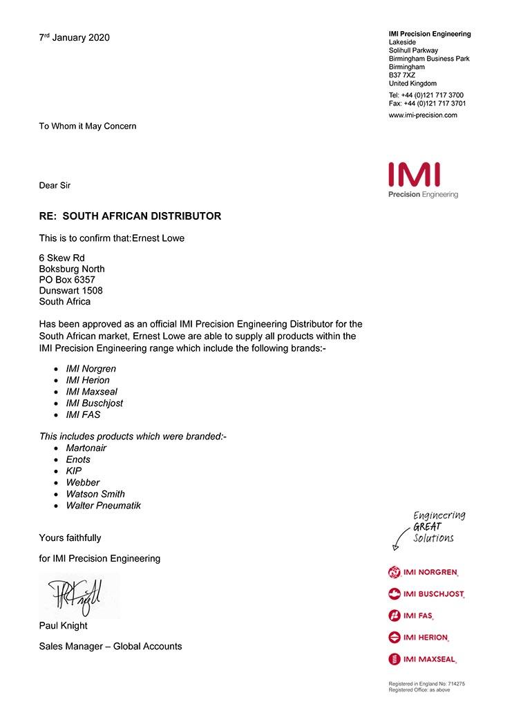 Ernest Lowe - IMI Precision Engineering Distributor Confirmation - 2020-01-07