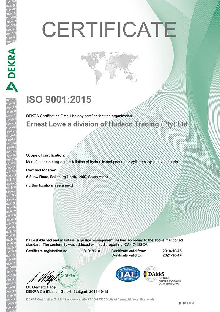 Ernest Lowe ISO 9001-2015 Certificate-1