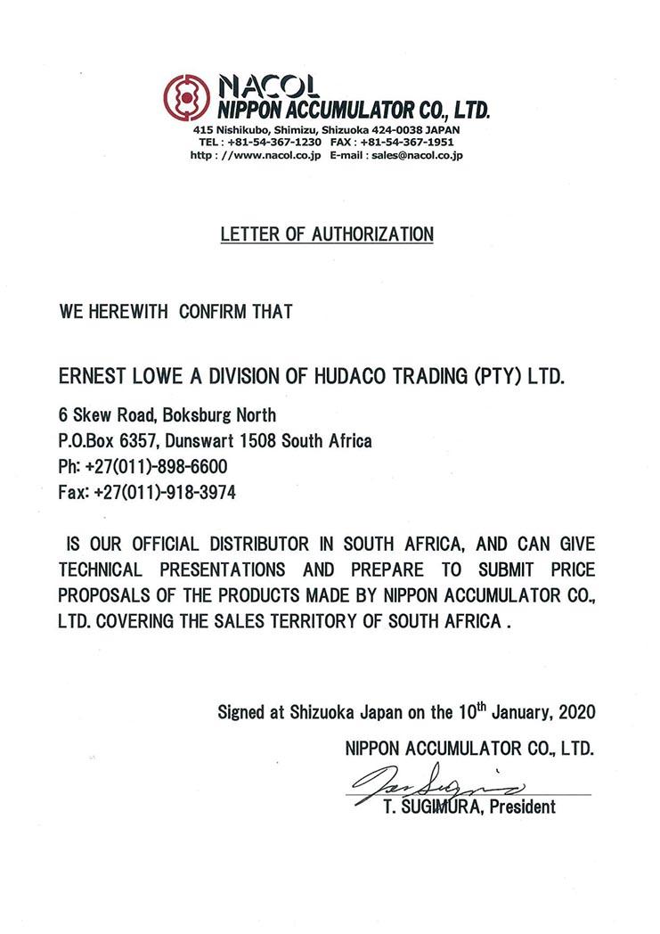 Ernest Lowe - Nacol Distribution Authorization - 2020-01-10