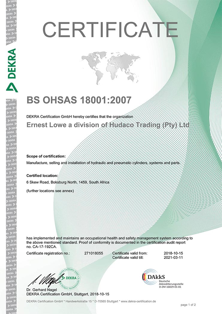 Ernest Lowe - OHSAS 18001-2007 Certificate-1