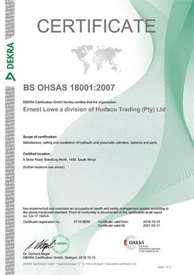 Ernest Lowe - OHSAS 18001-2007 Certificate - thumbnail