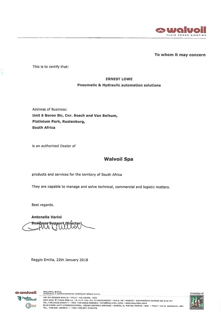 Ernest Lowe - Walvoil Dealer Certification - 22-01-2018