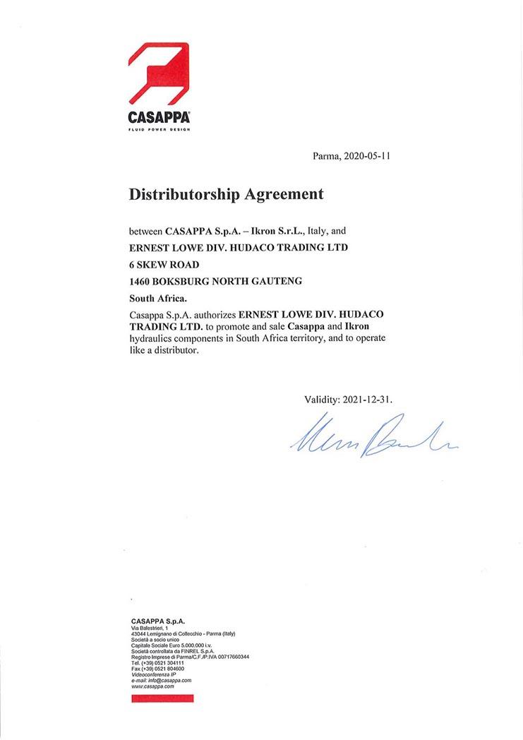 Ernest Lowe - Casappa & Ikron Distribution Agreement