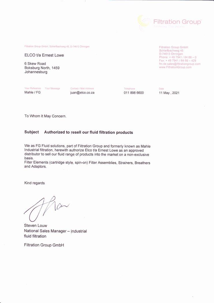 Ernest Lowe - FG Fluid Solutions Distribution Authorisation