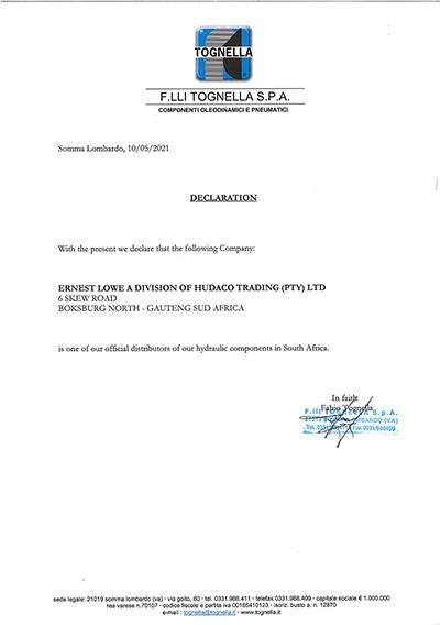 Ernest Lowe - Tognella Distribution Agreement - 2020-01-09 - thumbnail