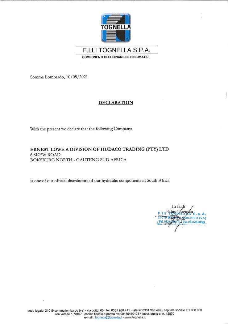 Ernest Lowe - Tognella Distribution Agreement