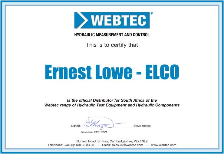 Ernest Lowe - Webtec Distribution Certificate